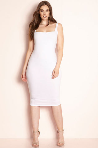 Rebdolls Essential Short Sleeve Crew Neck Midi Dress - White