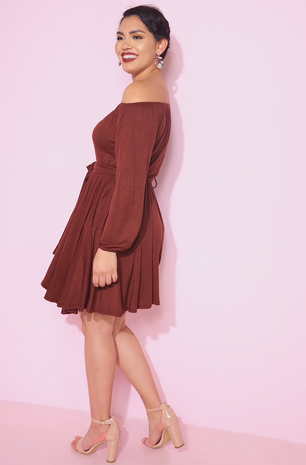 Brown Over The Shoulder Skater Mini Dress plus sizes