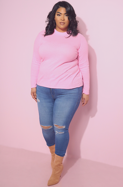 Pink Semi-Sheer Ribbed Turtleneck Top plus sizes