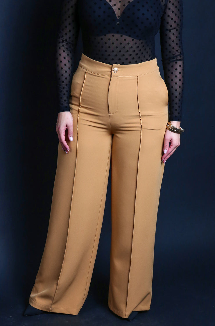 Camel High Waisted Dress Pants Plus Sizes