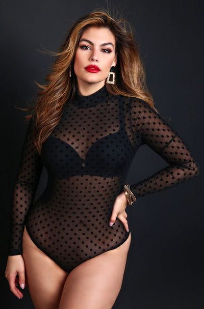 Black Plus Size Mesh Polka Dot Long Sleeve Bodysuit