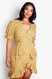 Mustard Ruffled Wrap Mini Dress Plus Sizes
