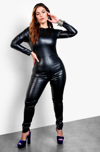 Black Faux Leather Long Sleeve Jumpsuit