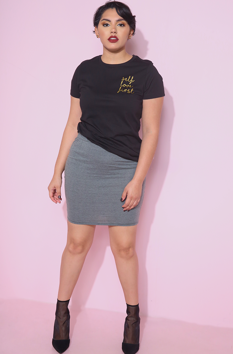 Black self love first crew neck t-shirt plus sizes