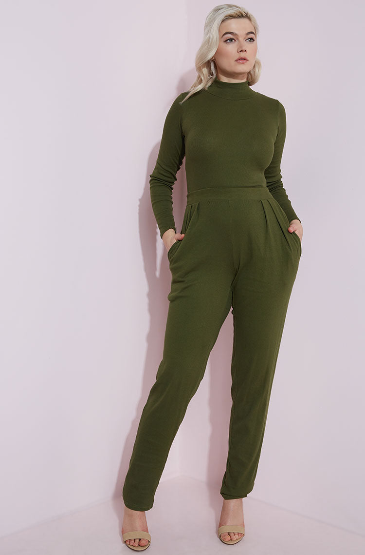 Olive Pleated Pant With Pockets Plus Sizes