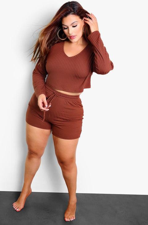 Brown Ribbed Lounge Shorts Plus Sizes