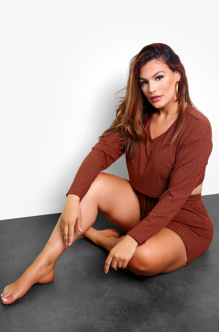Brown Ribbed V-Neck Long Sleeve Lounge Crop Top Plus Sizes