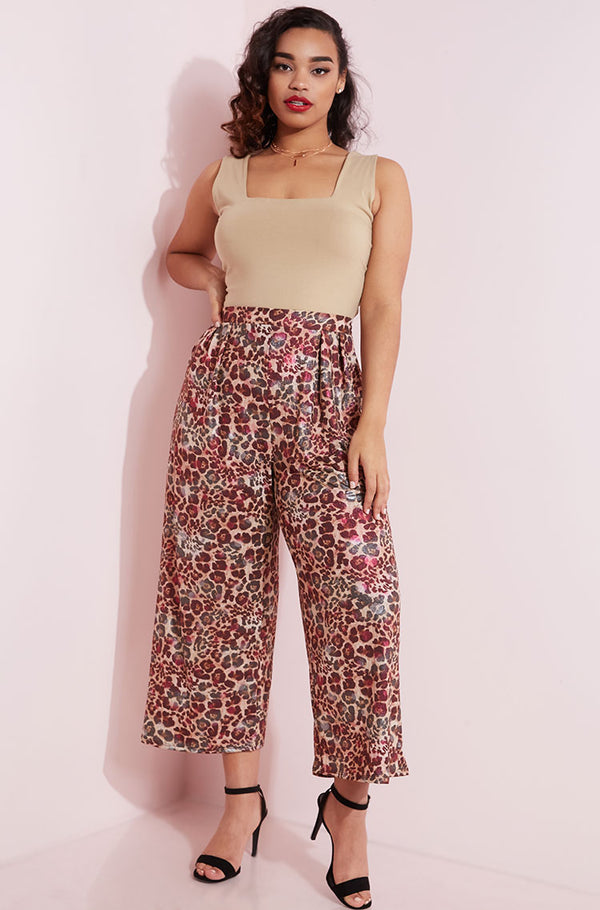 Brown Wide Leg Culottes Plus Sizes