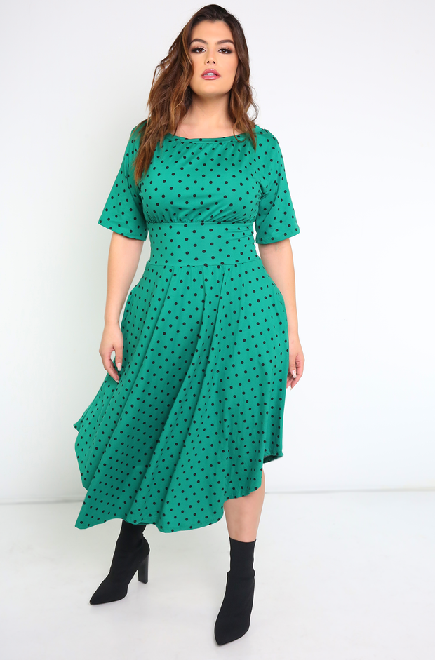 Green Polka Dot Skater Midi Dress W. Pockets Plus Sizes