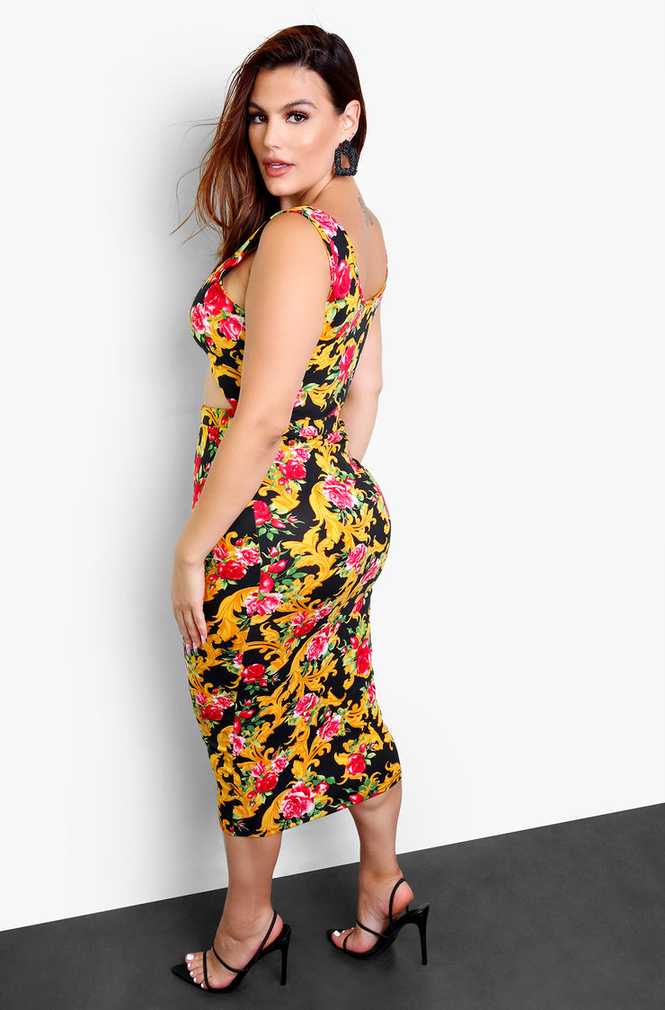 Black Cut Out Bodycon Midi Dress Plus Sizes