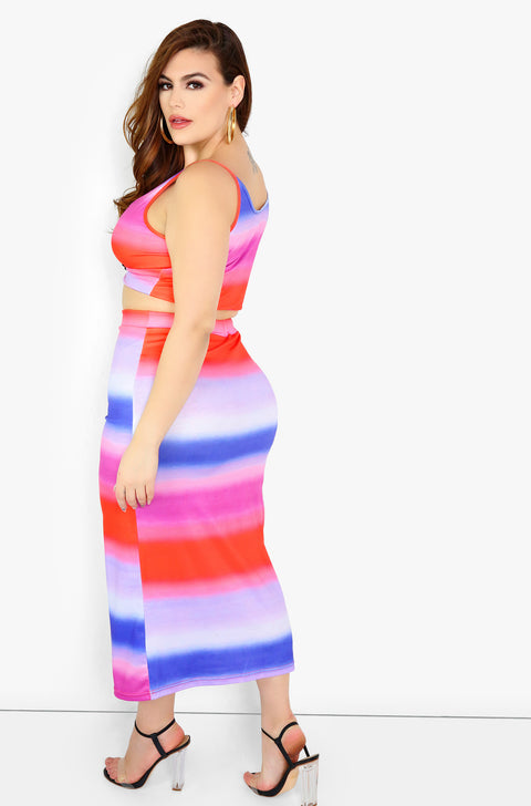 Hot Pink Multicolor Maxi Skirt Plus Sizes