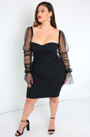 Black Puff Sleeves Bandage Mini Dress Plus Sizes