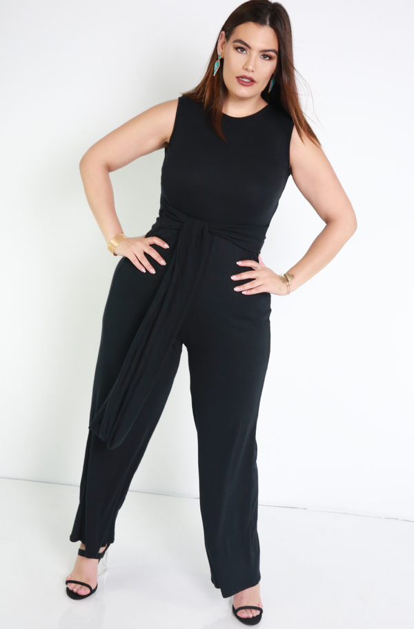 Black Belted Wide Leg Jumpsuit Plus Sizes