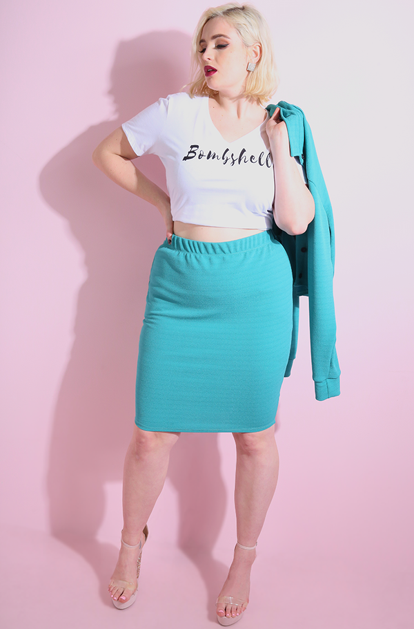 Turquoise Bodycon Mini Skirt plus sizes