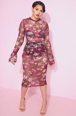 Burgundy Floral Mesh Bell Sleeve Top & Bodycon Midi Skirt plus sizes