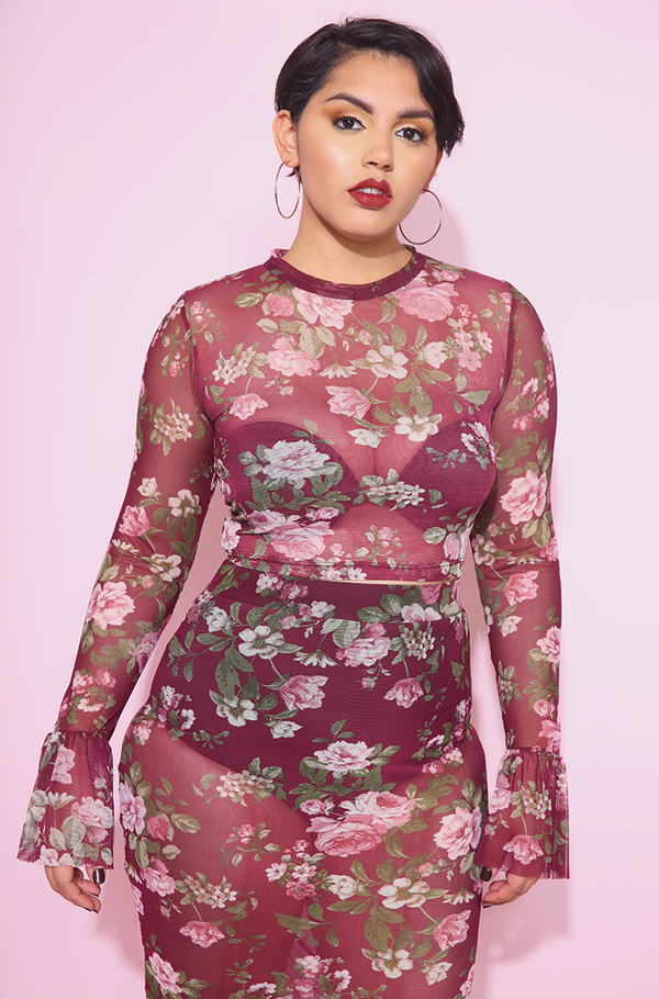 "Rebdolls ""Shallow"" Floral Mesh Bell Sleeve Top & Bodycon Midi Skirt"