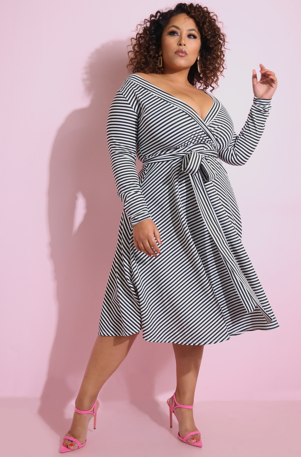 Black & White Striped Cross Over Midi Skater Dress Plus Sizes