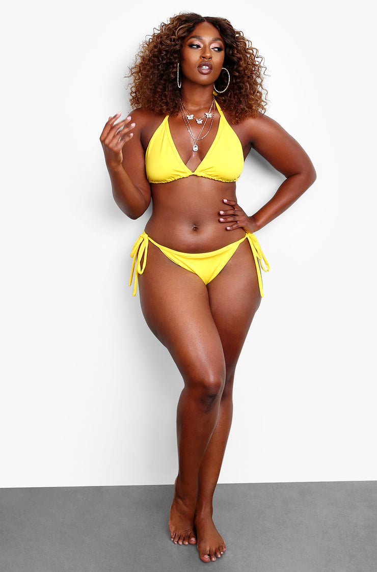 Yellow Triangle Bikini Swim Top Plus Sizes