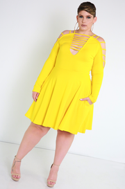 Yellow Caged Skater Dress Plus Sizes
