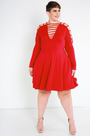 Red Caged Skater Dress Plus Sizes