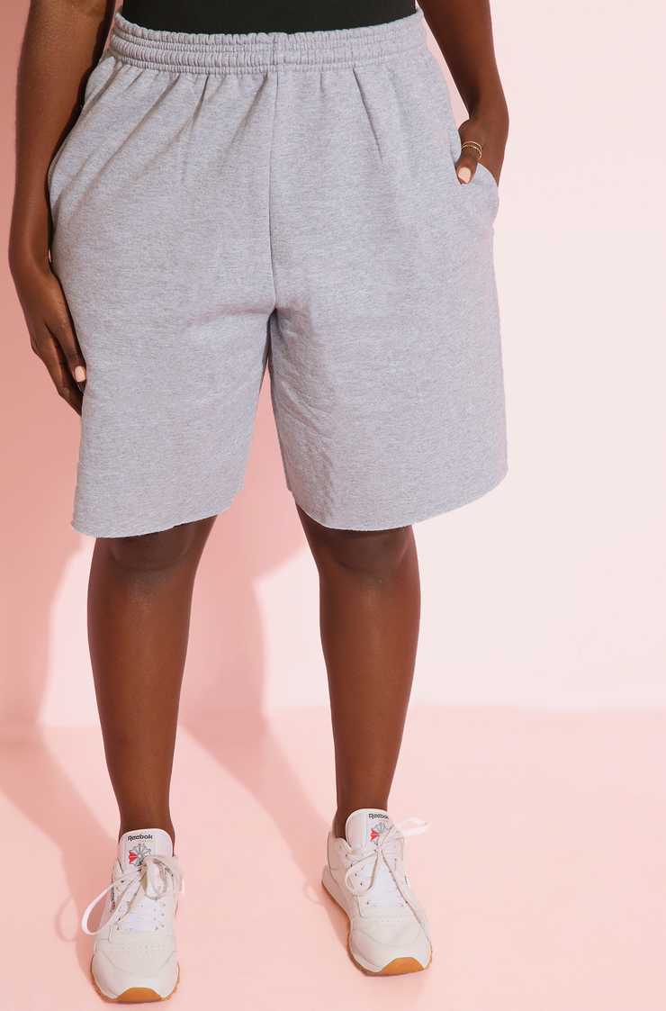 Gray Essential Cropped Fleece Sweatpants With Pockets Plus Sizes