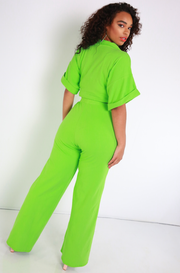 Lime Green Blazer Crop Top Plus Sizes