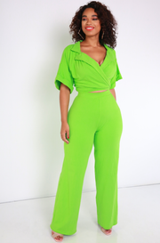 Lime Green Wide Leg Pants Plus Sizes