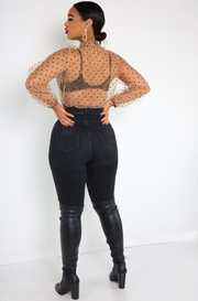 Nude Sheer Polkadot Long Sleeve Top Plus Sizes