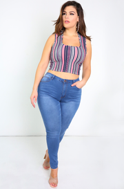 Dark Blue Mid Rise Skinny Jeans Plus Sizes