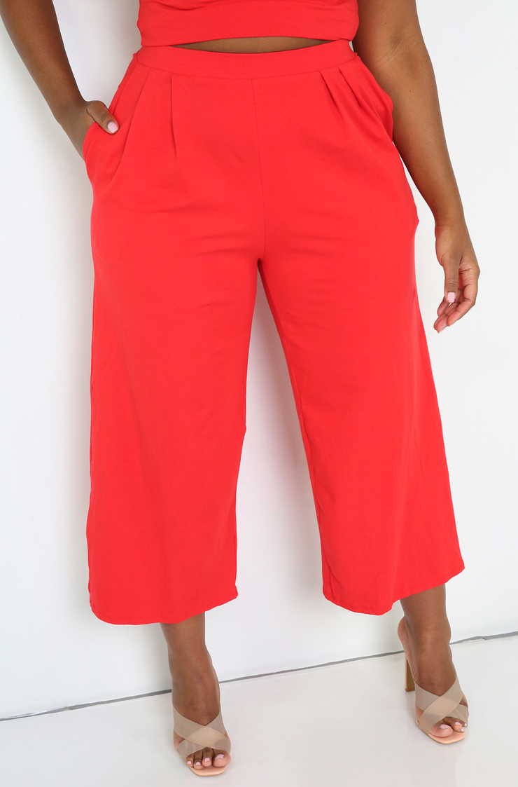 Red Cropped Wide Leg Pants With Pockets Plus Sizes