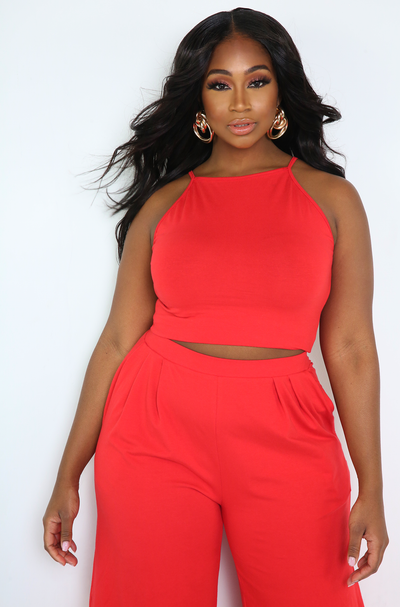 Red High Neck Crop Top Plus Sizes