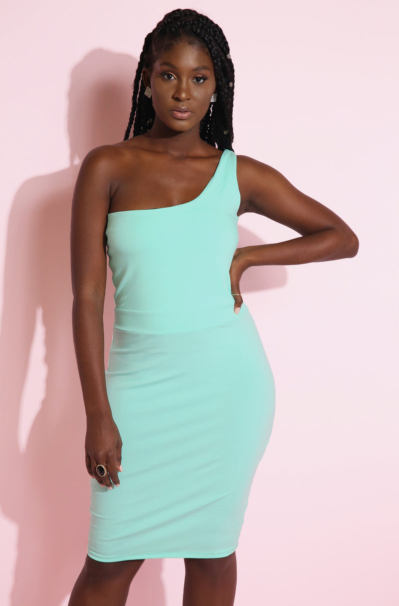 Mint One Shoulder Mini Dress Plus Sizes