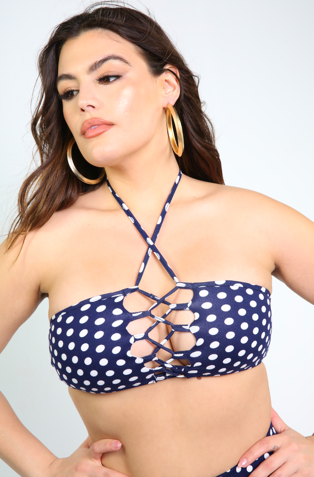 Navy Blue Caged Polka Dot Swimsuit Top Plus Sizes