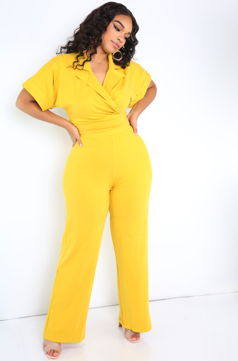 Mustard Wide Leg Pants Plus Sizes