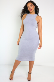 Gray X-neckline Bodycon Midi Dress