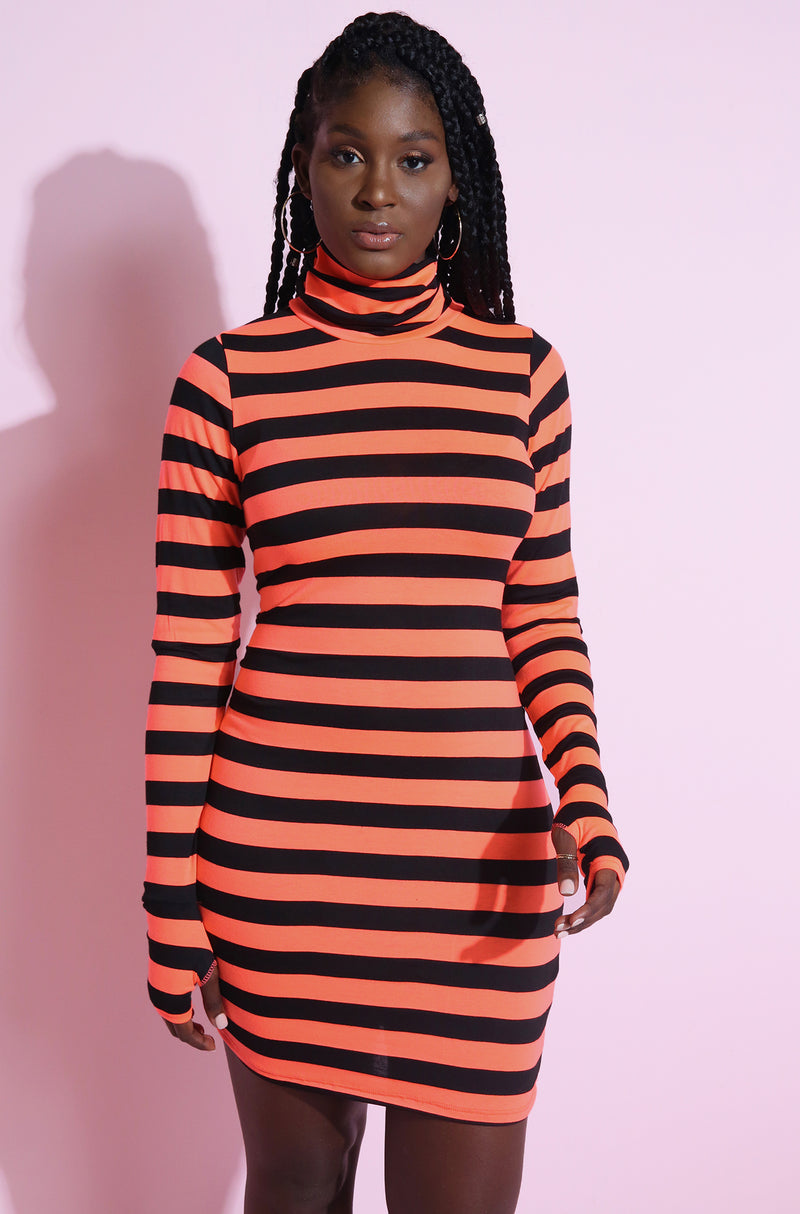 "Rebdolls ""Show Stopper"" Light-Weight Neon Striped Mini Dress With Thumbhole"