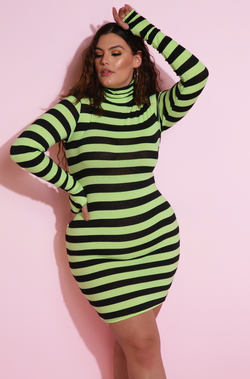 "Rebdolls ""Show Stopper"" Light-Weight Striped Mini Dress With Thumbhole"