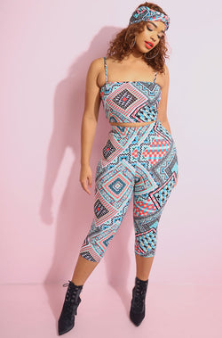 Blue Cropped Legging Set With matching crop top and turban plus sizes