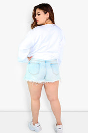 Blue Ripped Shorts Plus Size