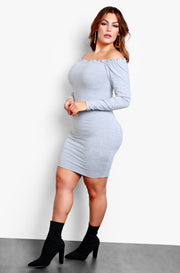 Gray Ruffled Hem Long Sleeve Bodycon Mini Dress