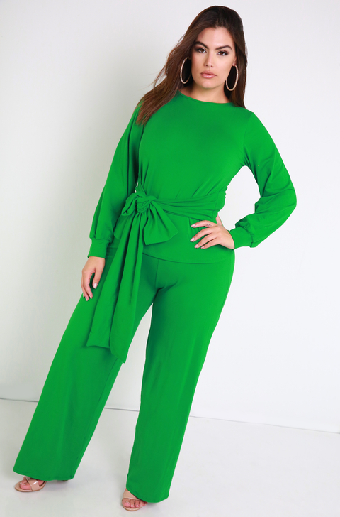 Green Waist Belted Top Plus Sizes