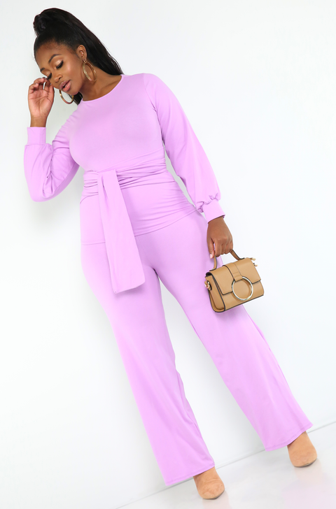 Lilac Waist Belted Top Plus Sizes