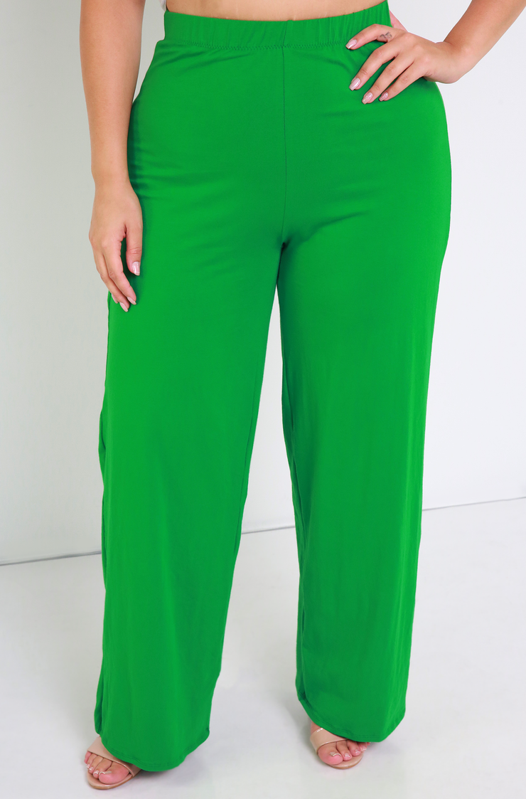 Green Wide Leg Pants Plus Sizes
