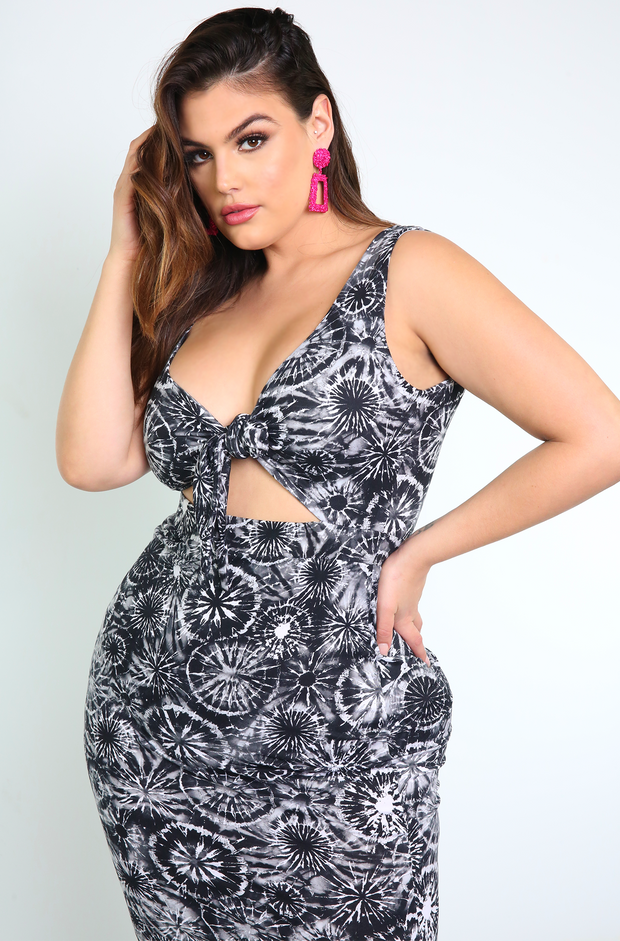 Black Tied Midi Dress With Side Slit Plus Sizes
