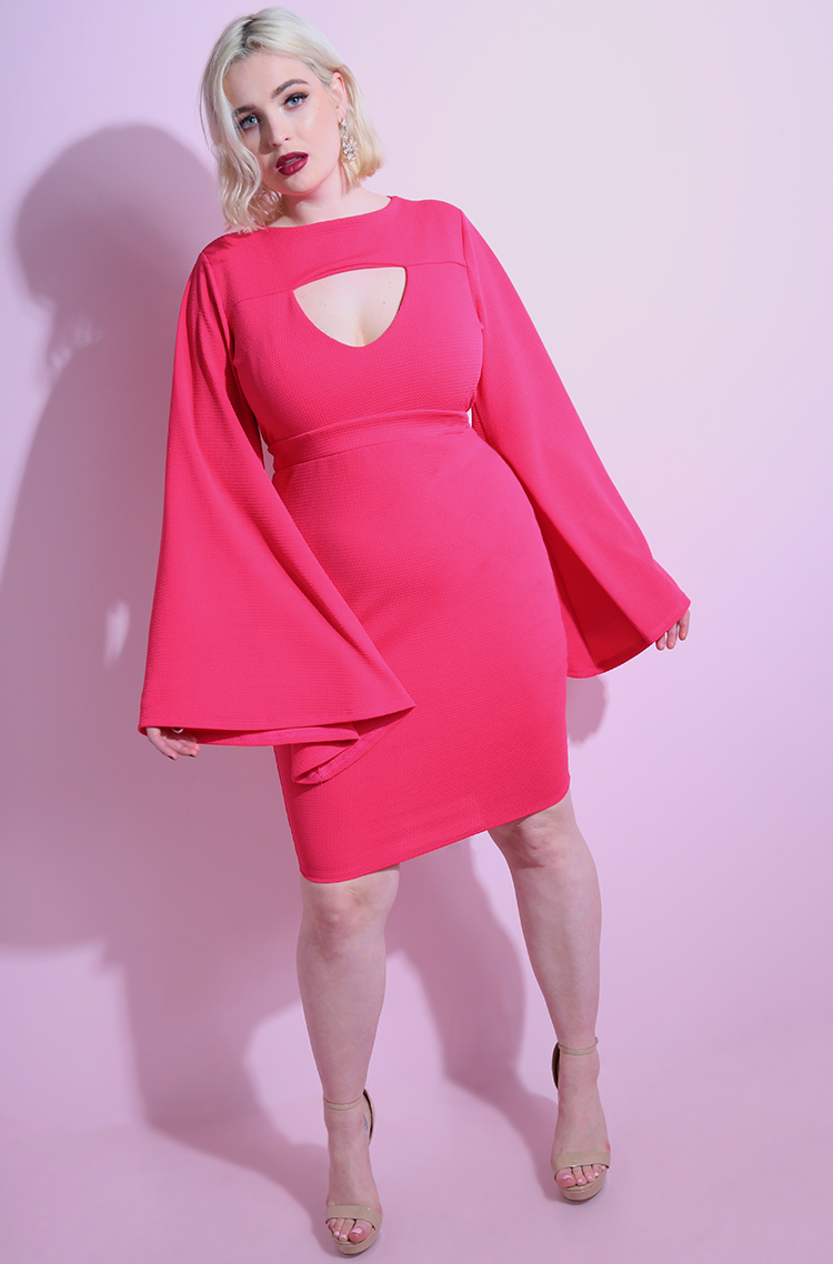 "Rebdolls ""Side To Side"" Bell Sleeves Bodycon Mini Dress"