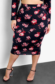 Black Floral Bodycon Midi Skirt Plus Size