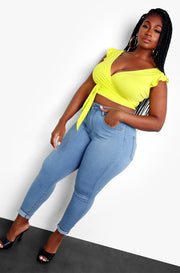 Yellow Wrap Crop Top Plus Sizes