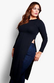 Black Longline Long Sleeve Top with Side Slits Plus Sizes