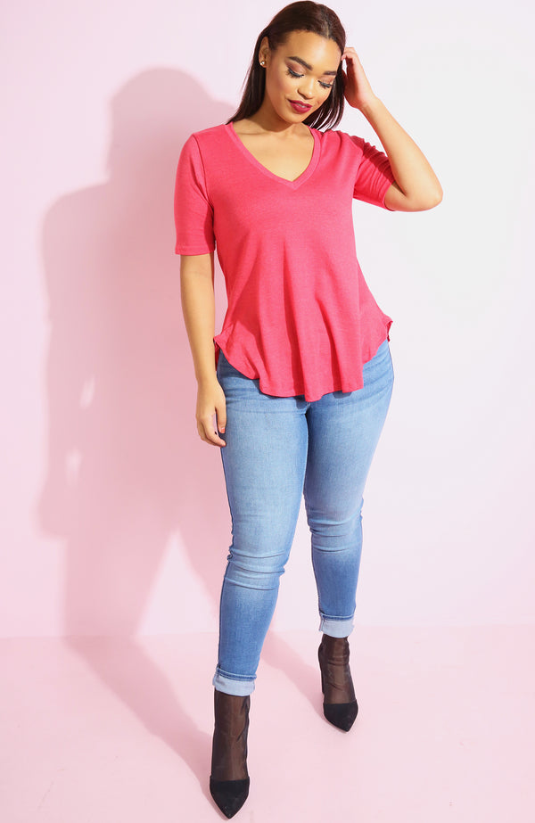 "Rebdolls ""Simple Life"" Loose Fit V-Neck Top"