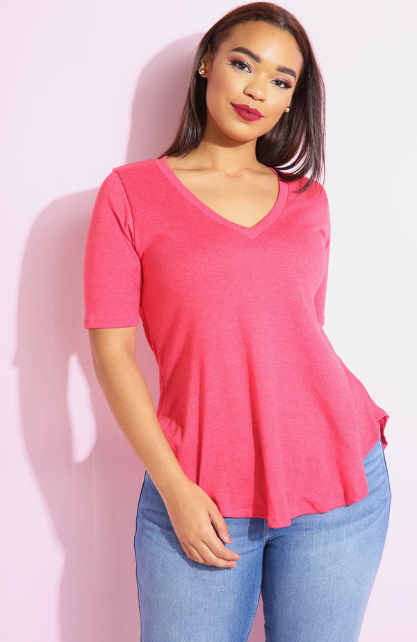 Pink Loose Fit V-Neck Top plus sizes